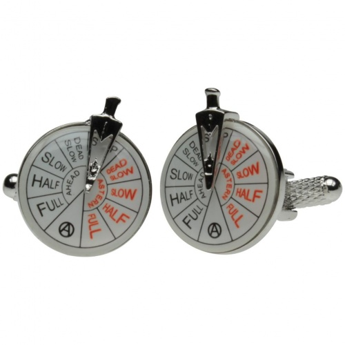 Silver Colour Ships Telegraph Cufflinks
